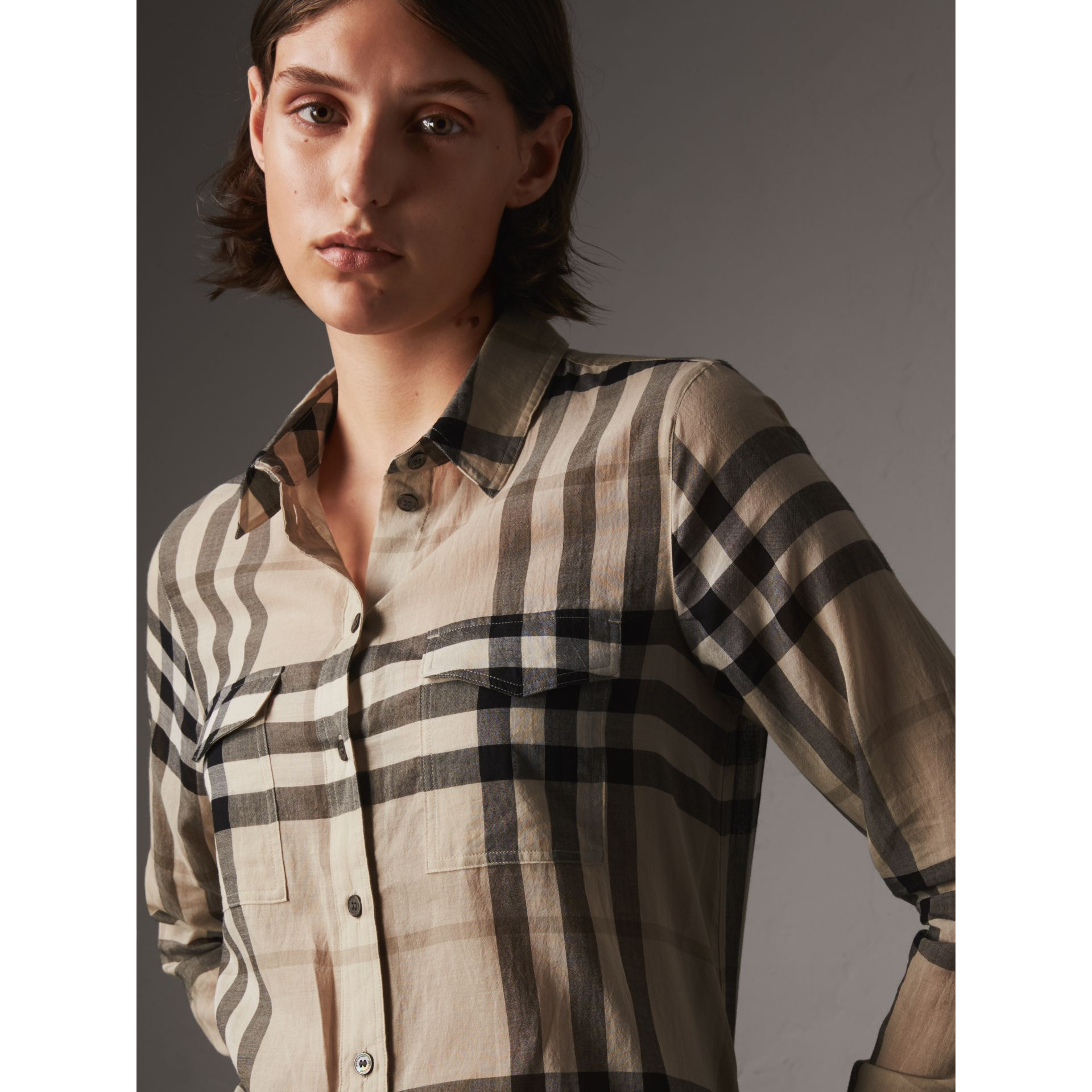 Check Cotton Shirt in Chino - Women | Burberry - gallery image 2