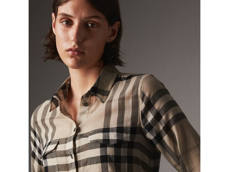 Check Cotton Shirt in Chino - Women | Burberry - cell image 1