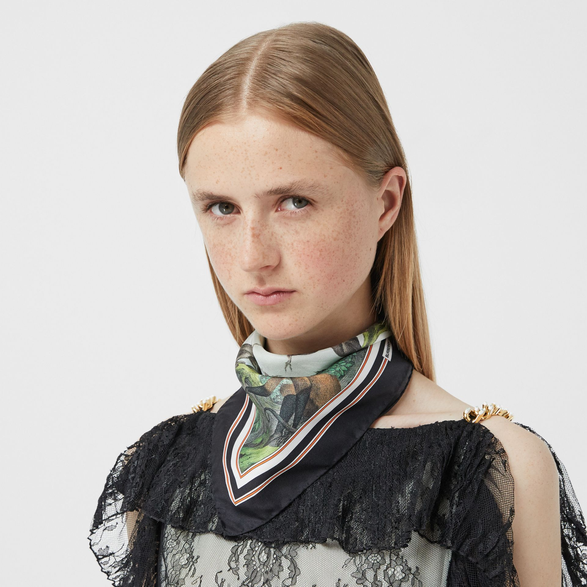 Monkey Print Silk Small Square Scarf in Light Opal Green | Burberry United Kingdom - gallery image 2