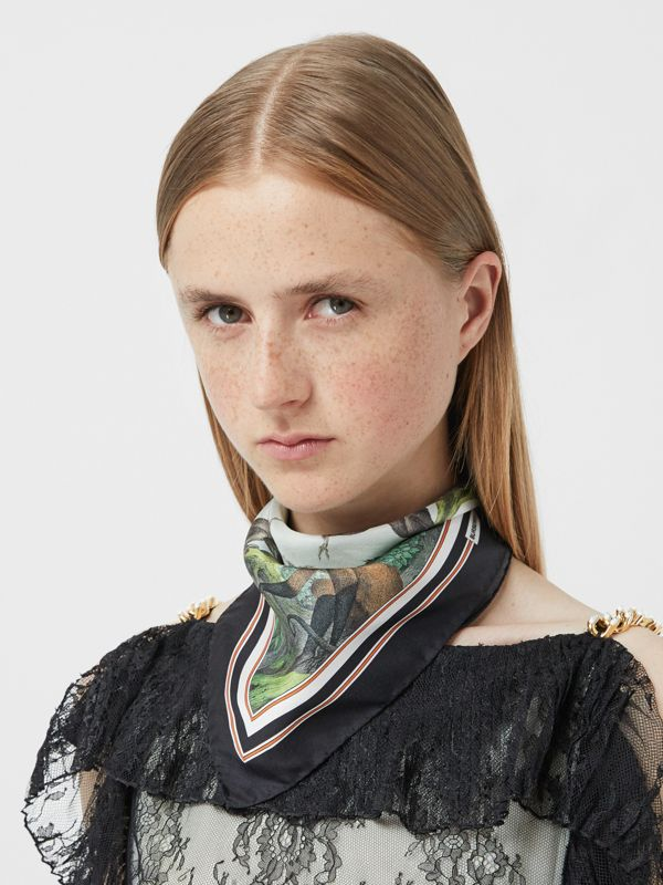 Monkey Print Silk Small Square Scarf in Light Opal Green | Burberry United Kingdom - cell image 2