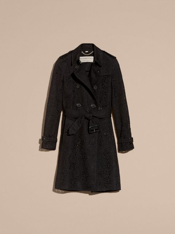 Nero Trench coat in pizzo italiano - cell image 3