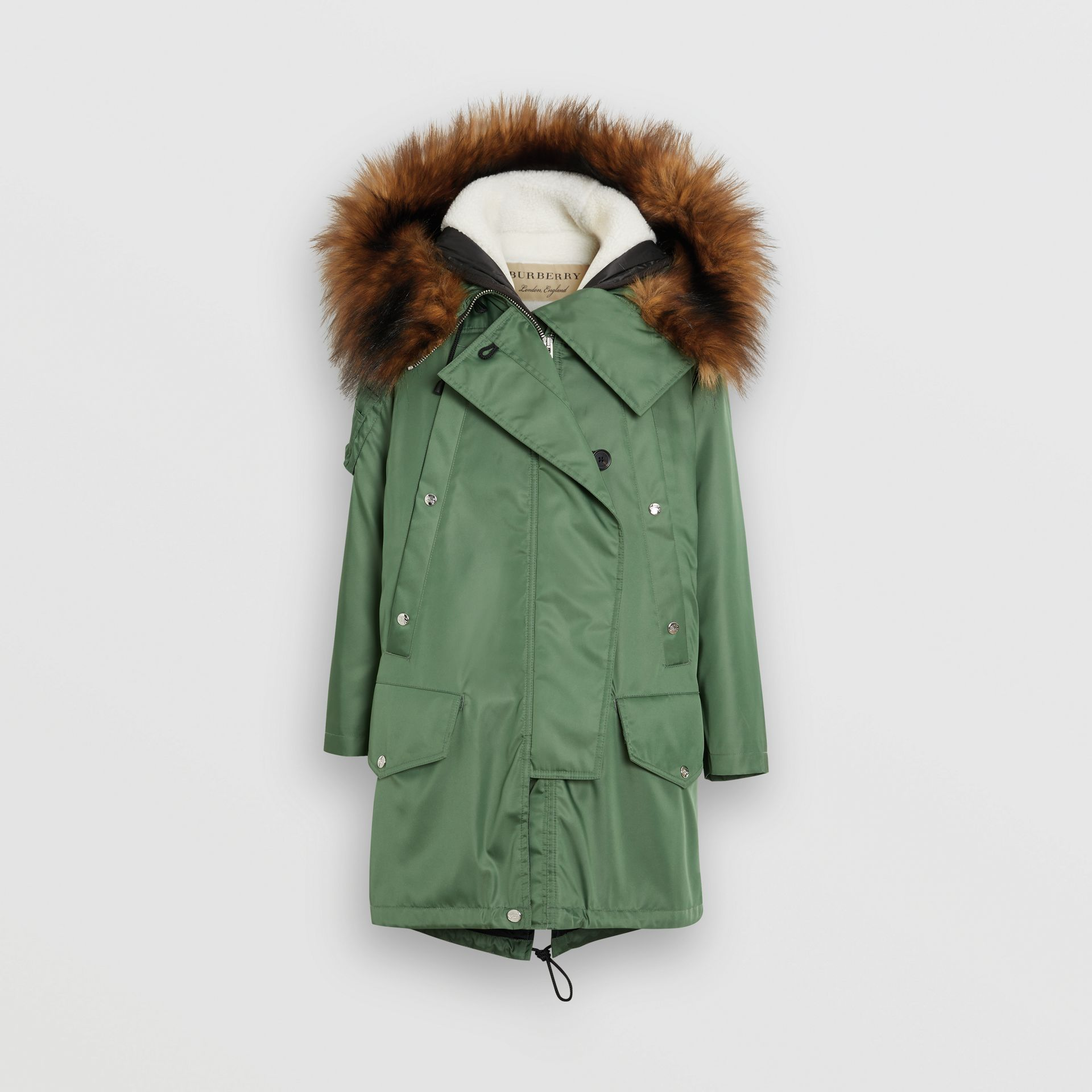 Detachable Faux Fur Trim Hood Parka in Grass Green - Women | Burberry Singapore - gallery image 3