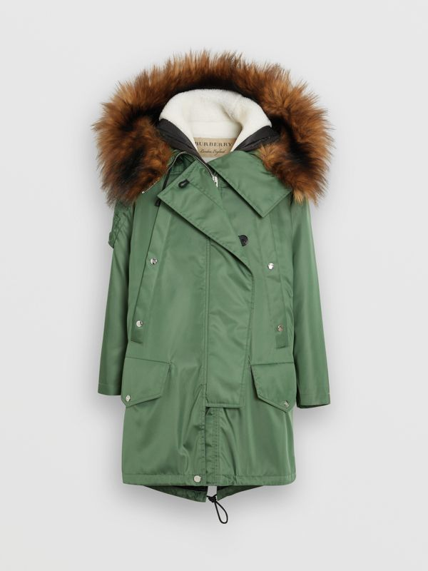 Detachable Faux Fur Trim Hood Parka in Grass Green - Women | Burberry - cell image 3