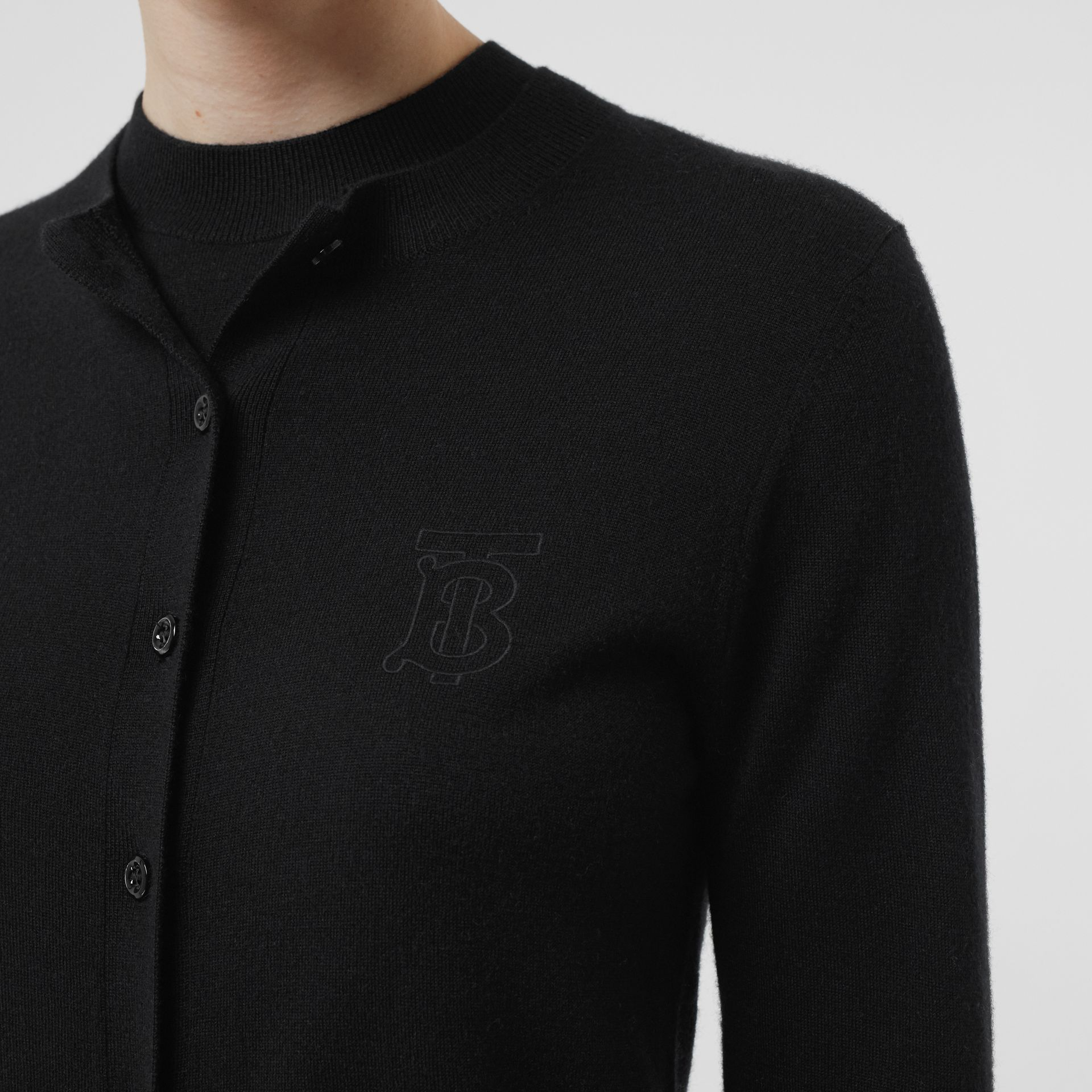 Monogram Motif Cashmere Cardigan in Black - Women | Burberry - gallery image 4