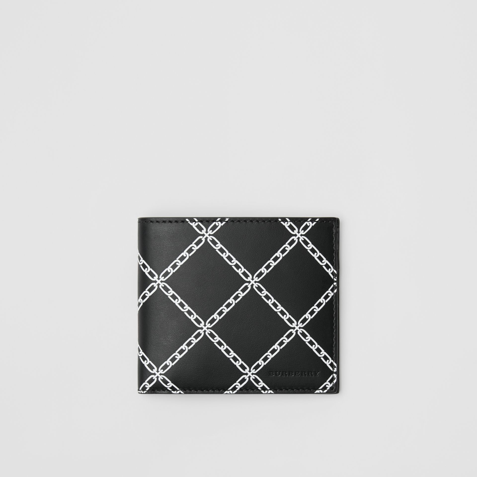 Link Print Leather International Bifold Wallet in Black - Men | Burberry Australia - gallery image 0