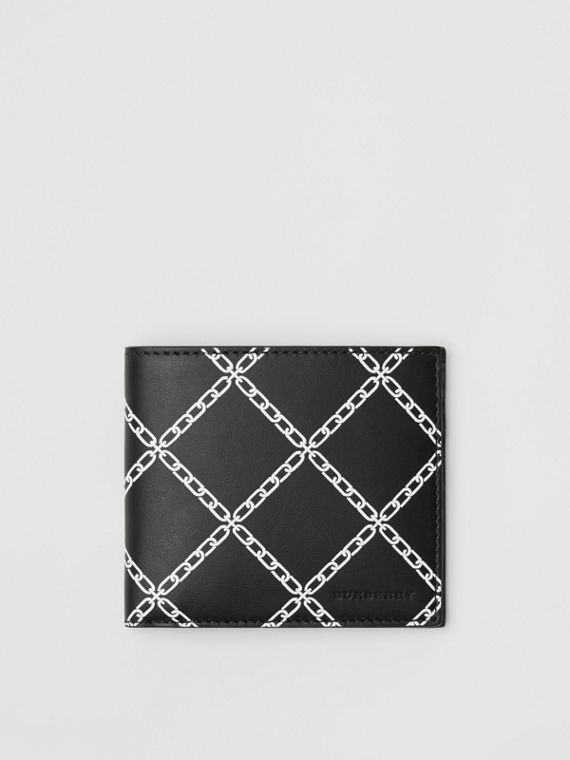 Link Print Leather International Bifold Wallet in Black