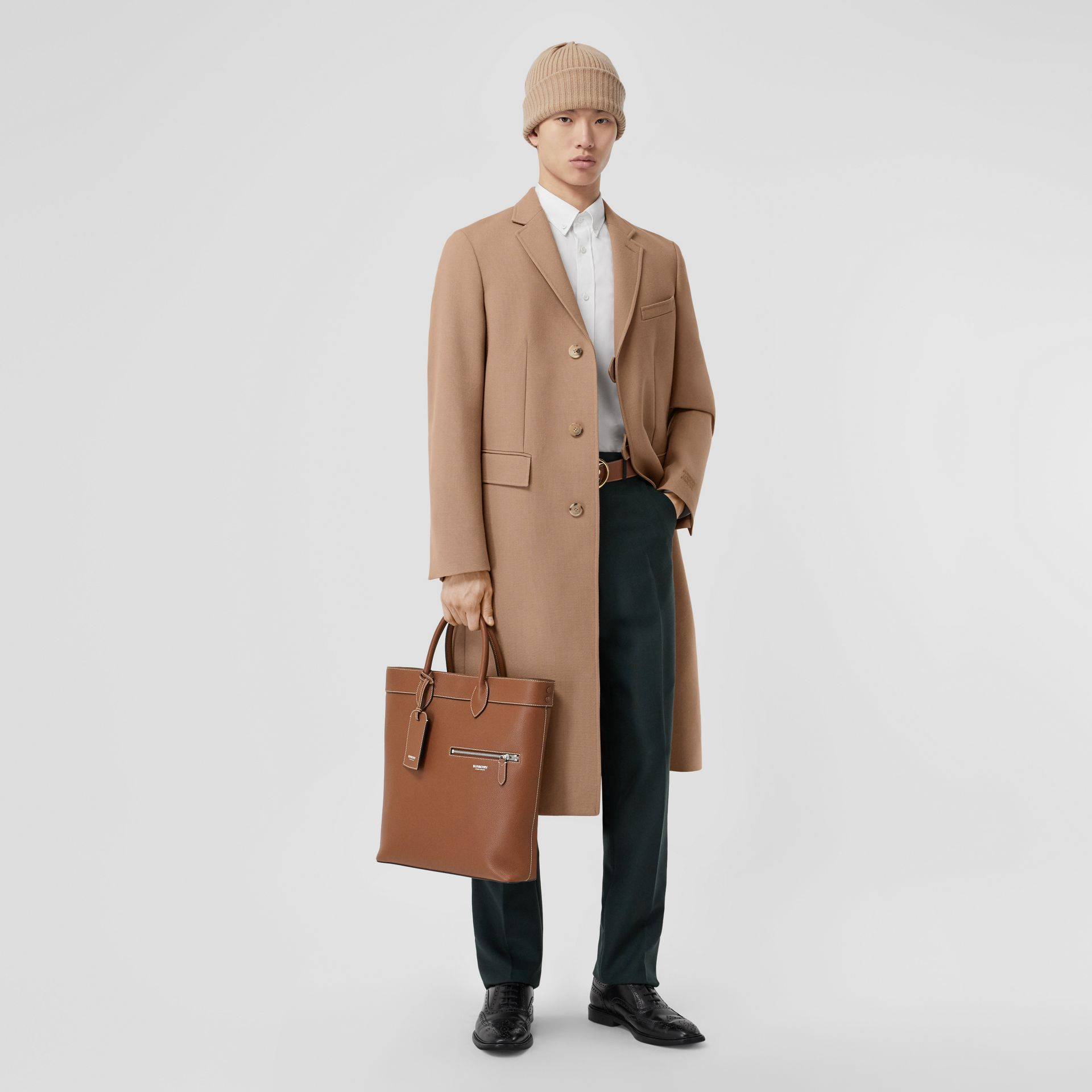 Grainy Leather Tote in Tan | Burberry - gallery image 7
