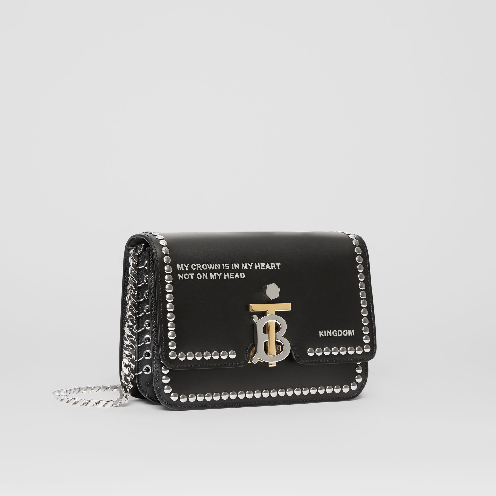 Small Studded Montage Print Leather TB Bag in Black - Women | Burberry - gallery image 6