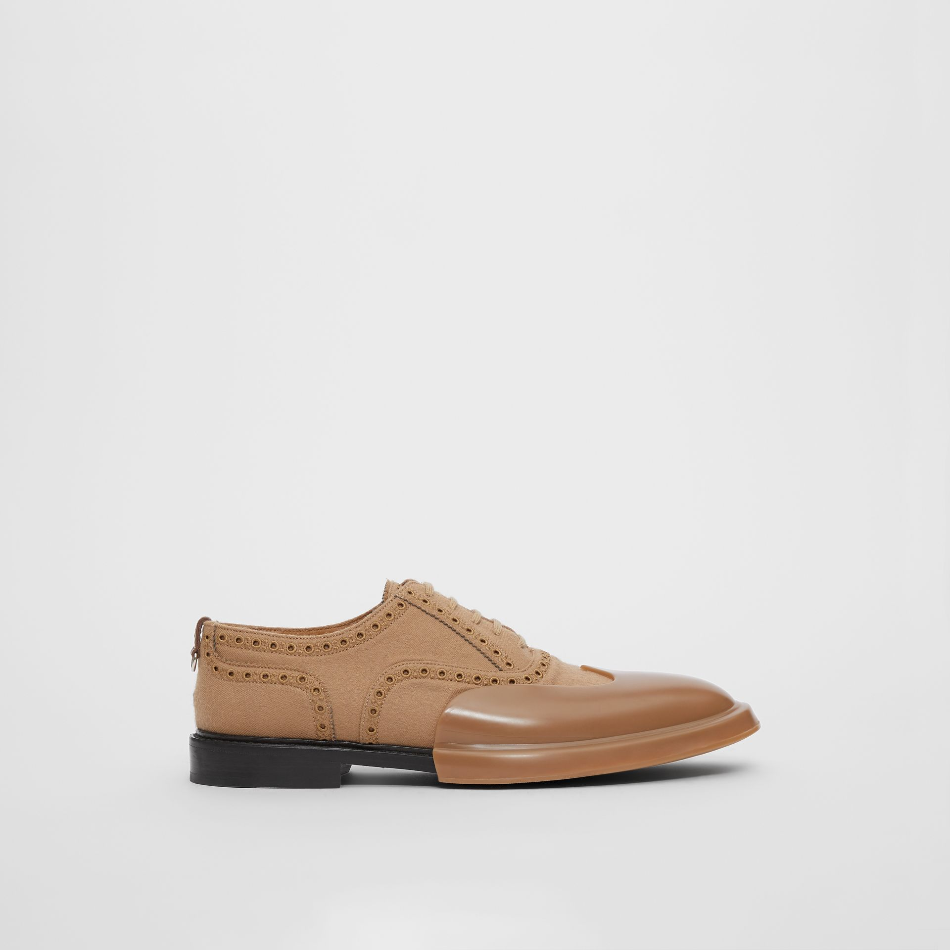 Toe Cap Detail Wool Oxford Brogues in Warm Camel - Men | Burberry - gallery image 5