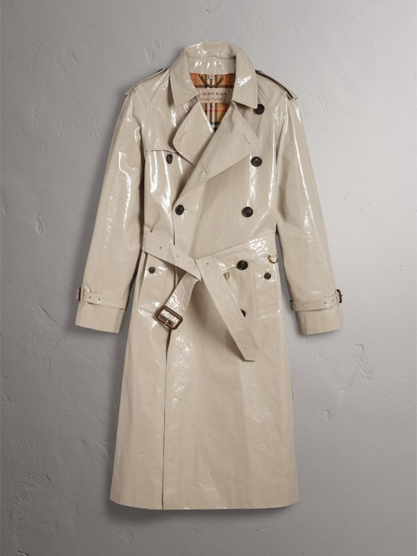 Laminated Cotton Gabardine Trench Coat in Stone - Men | Burberry United Kingdom - cell image 3