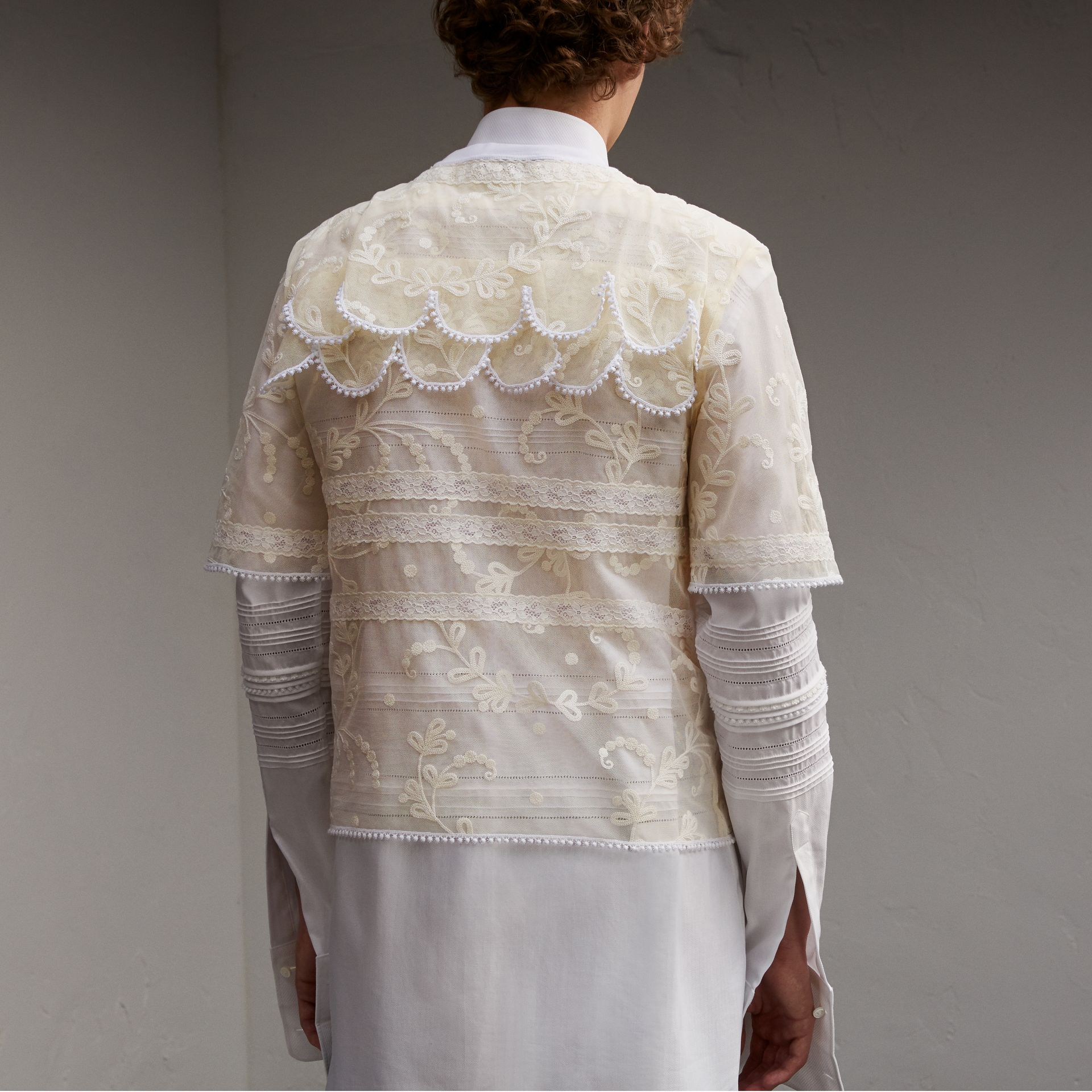 Tiered Soutache Lace T-shirt in White - Men | Burberry - gallery image 5