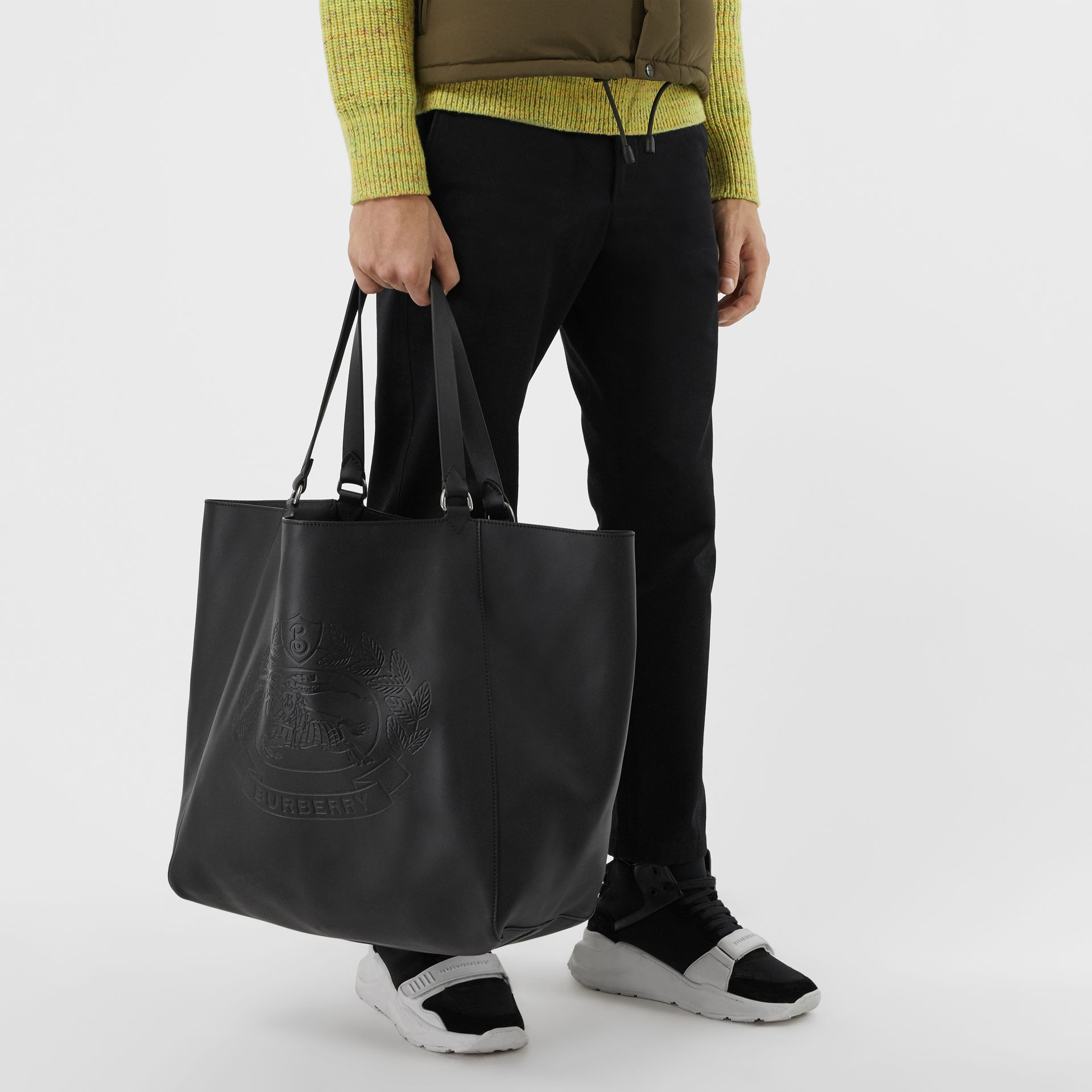 Large Embossed Crest Bonded Leather Tote in Black - Men | Burberry United States - gallery image 7
