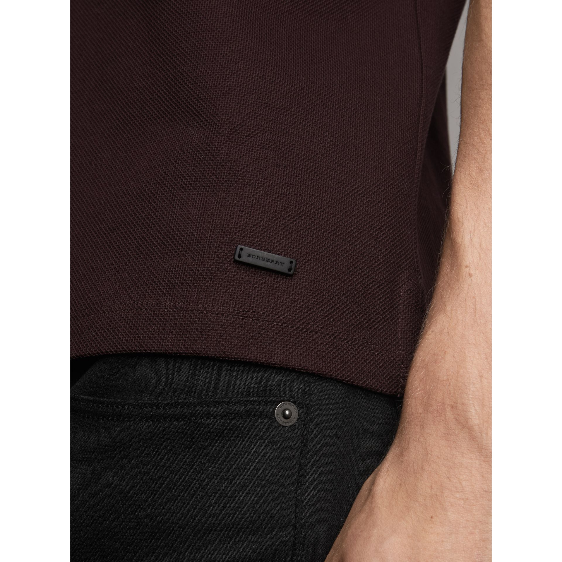 Striped Collar Cotton Piqué Polo Shirt in Blackcurrant - Men | Burberry - gallery image 1