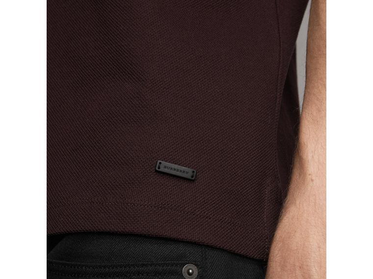 Striped Collar Cotton Piqué Polo Shirt in Blackcurrant - Men | Burberry Australia - cell image 1