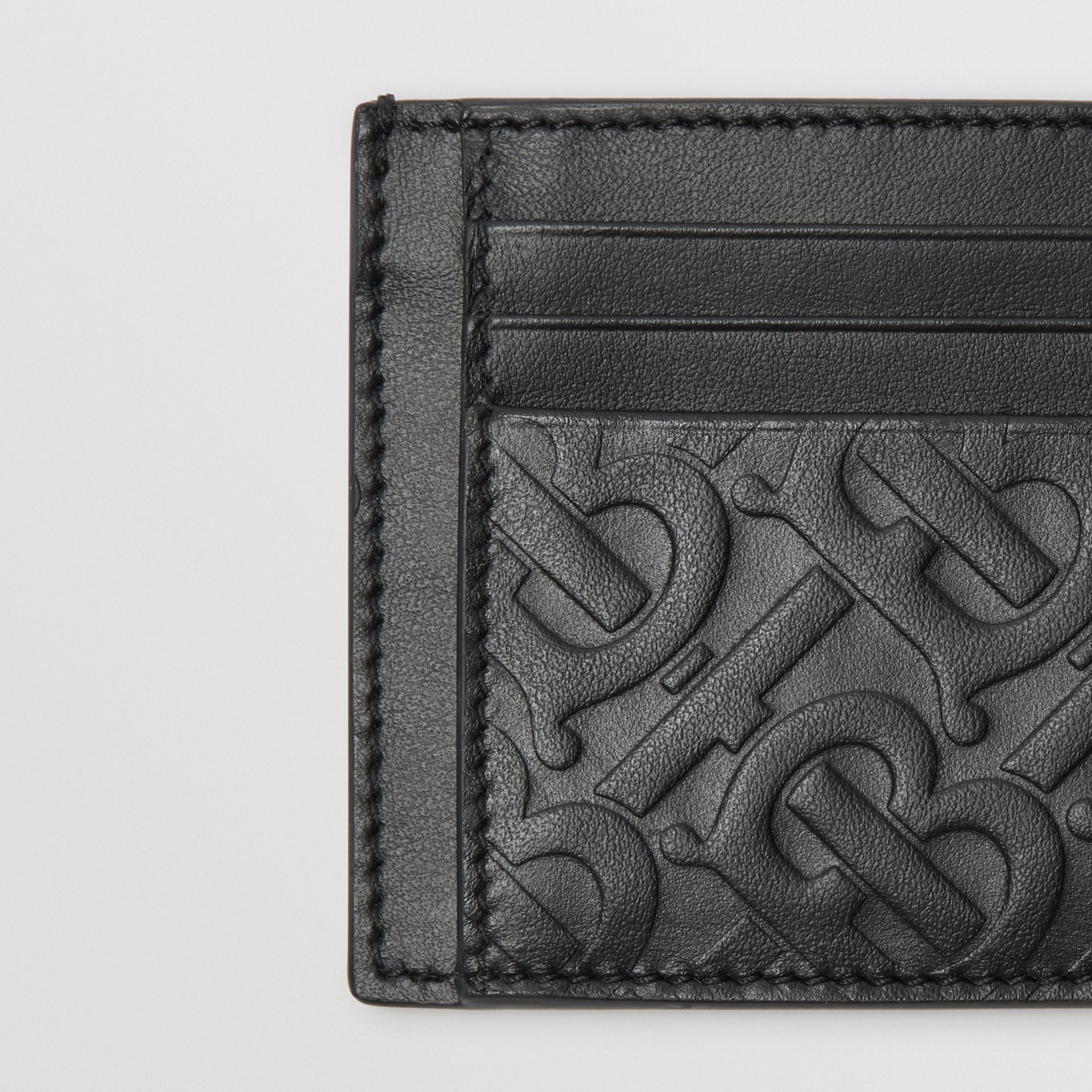 Monogram Leather Card Case in Black - Men | Burberry - gallery image 1