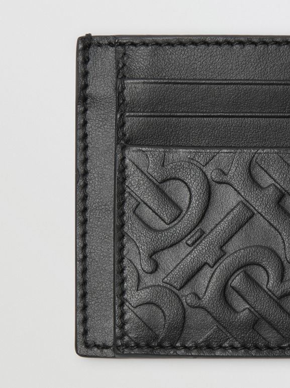 Monogram Leather Card Case in Black - Men | Burberry Australia - cell image 1