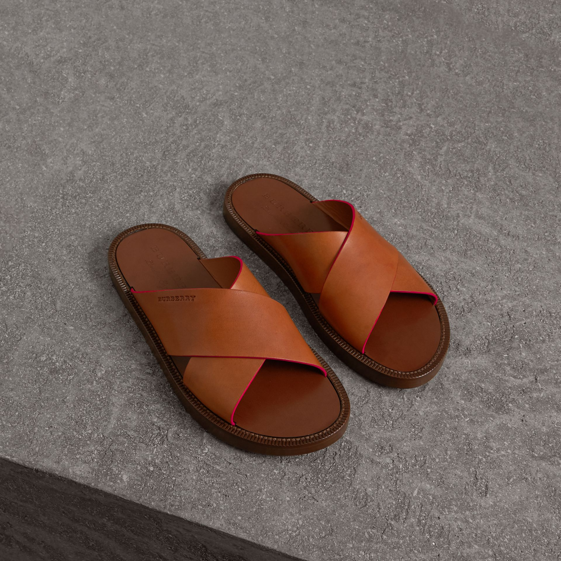 Contrast Detail Leather Sandals in Amber - Men | Burberry - gallery image 0