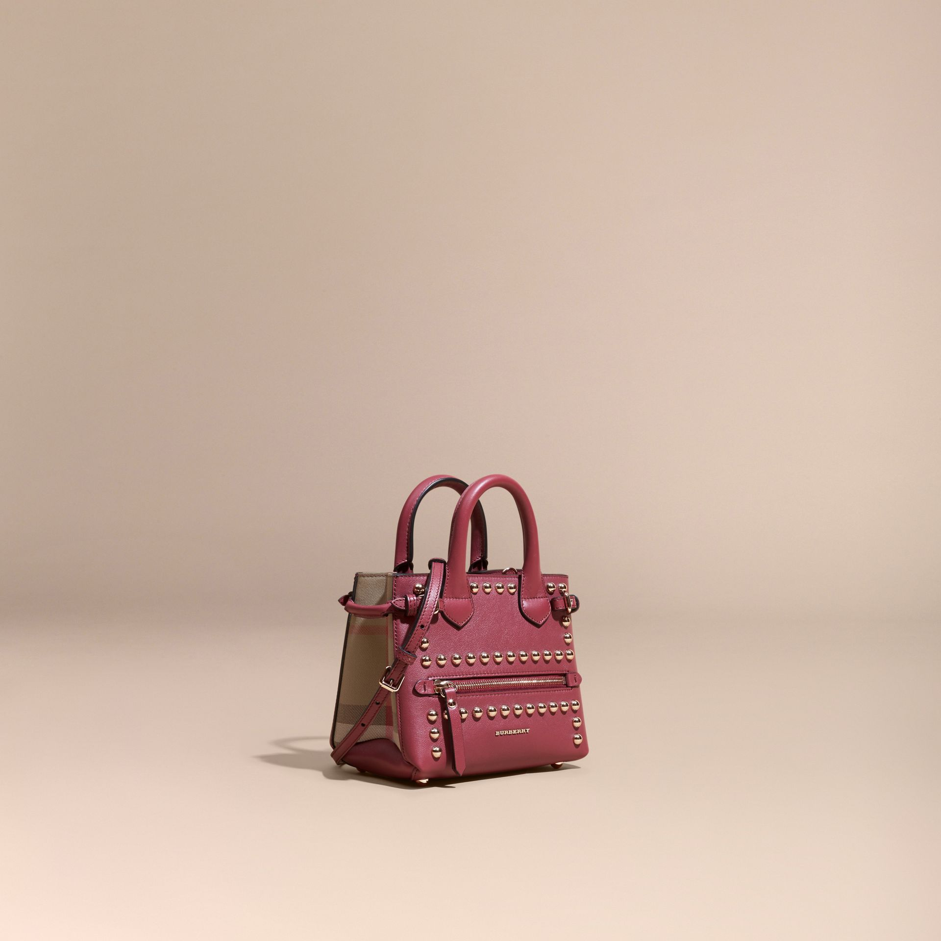 Garnet pink The Baby Banner in Studded Leather and House Check - gallery image 1