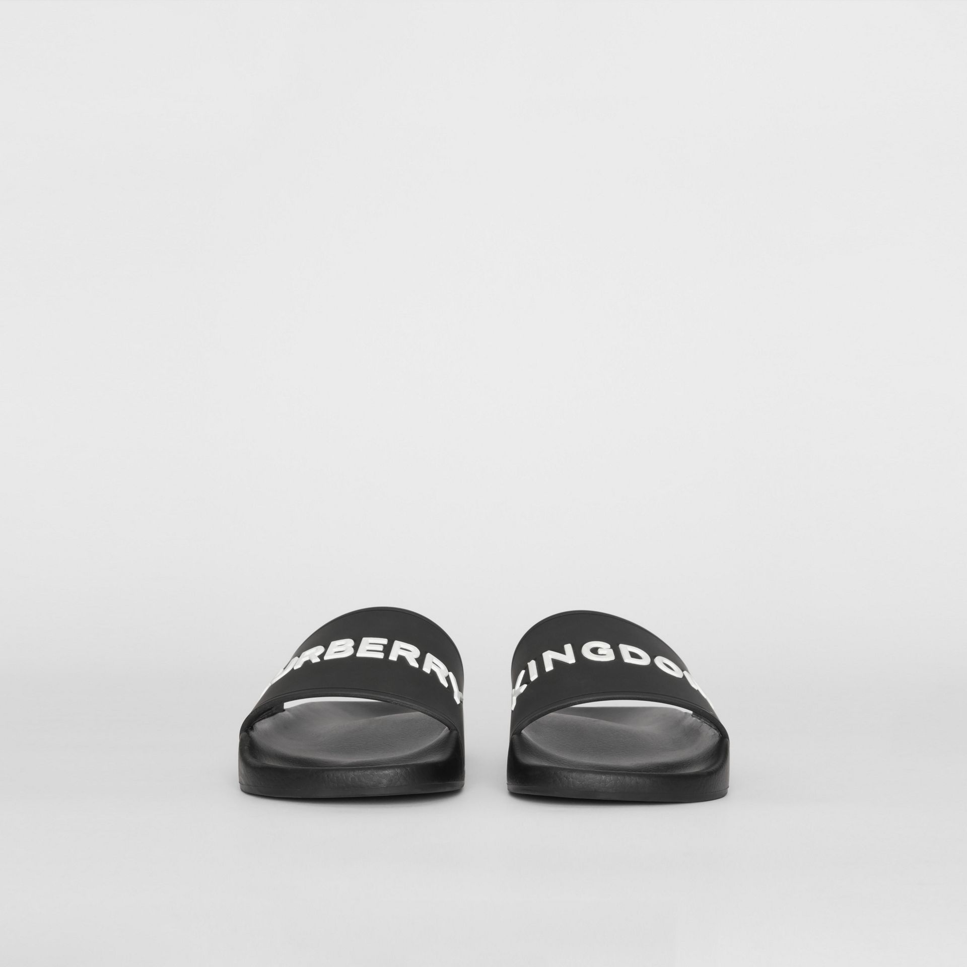 Kingdom Motif Slides in Black/optic White - Men | Burberry - gallery image 3