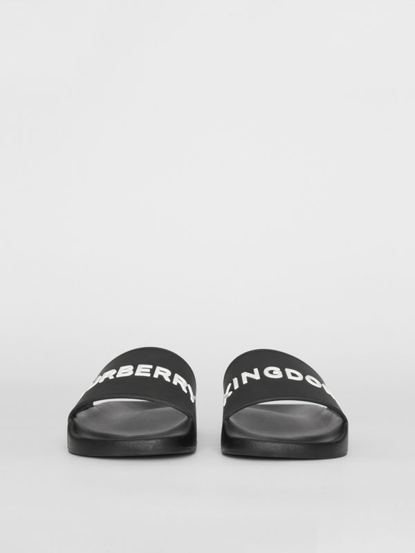 Kingdom Motif Slides in Black/optic White - Men | Burberry - cell image 3