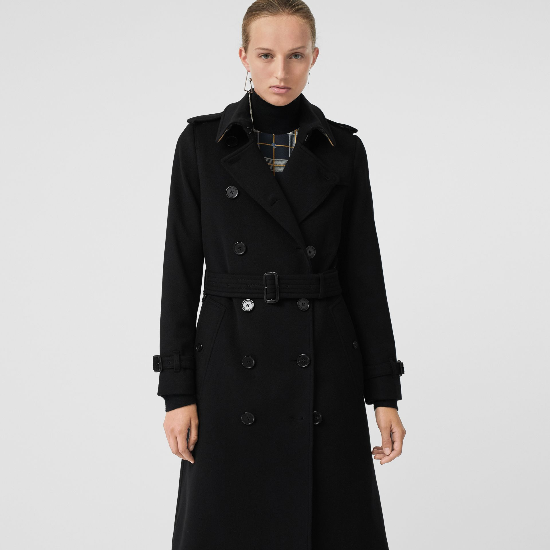 Cashmere Trench Coat in Black - Women | Burberry - gallery image 6