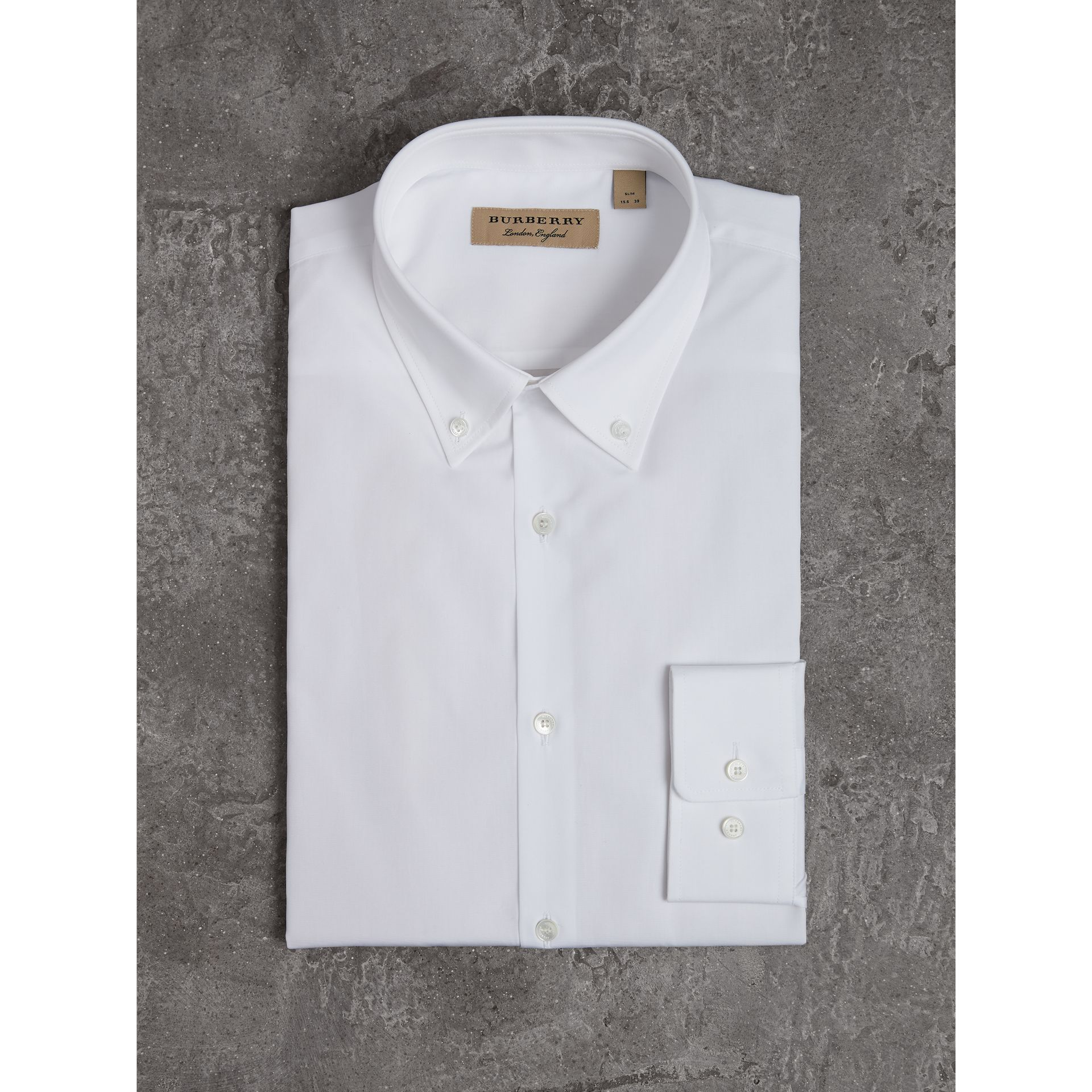 Slim Fit Button-down Collar Cotton Poplin Shirt in White - Men | Burberry - gallery image 3