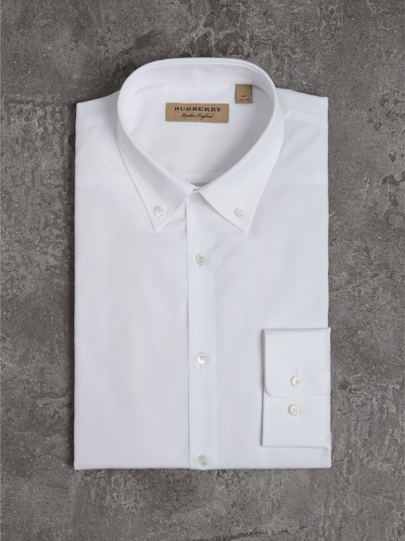 Slim Fit Button-down Collar Cotton Poplin Shirt in White - Men | Burberry Australia - cell image 3
