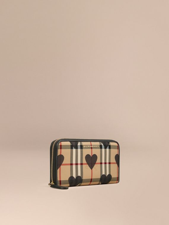 Horseferry Check and Hearts Ziparound Wallet Black