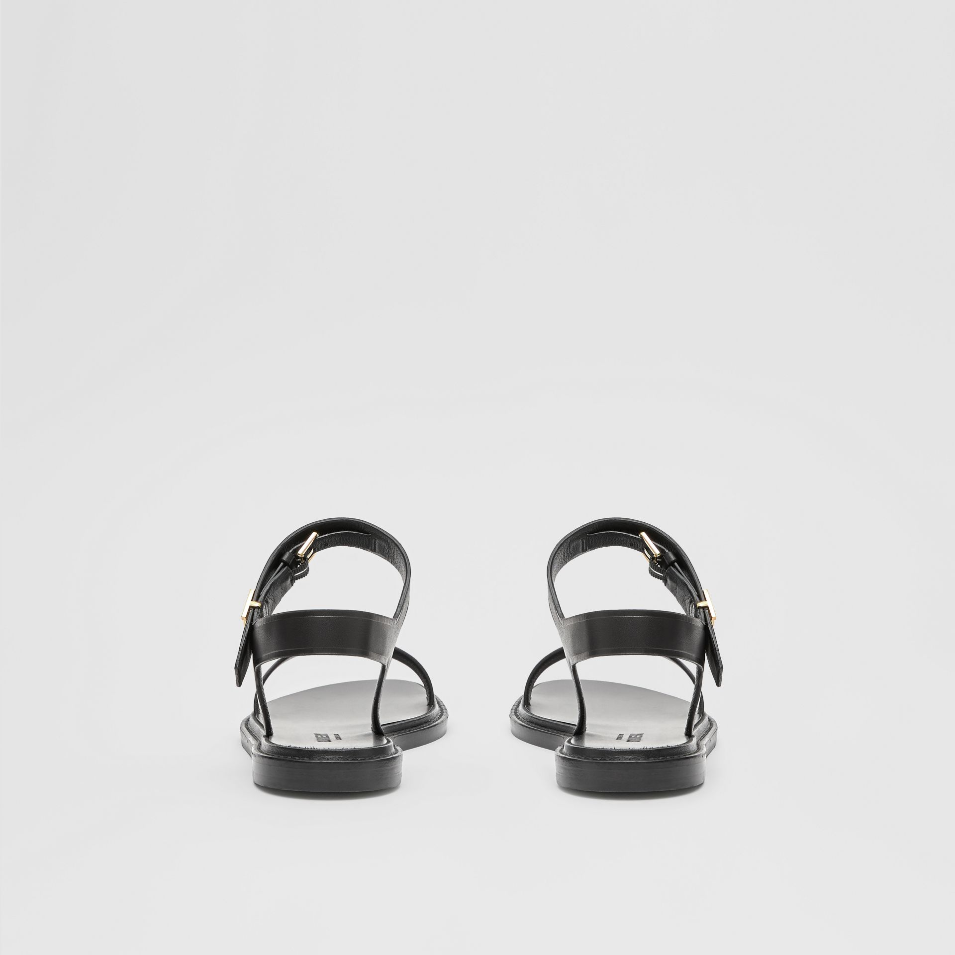 Monogram Motif Leather Sandals in Black - Women | Burberry United Kingdom - gallery image 3