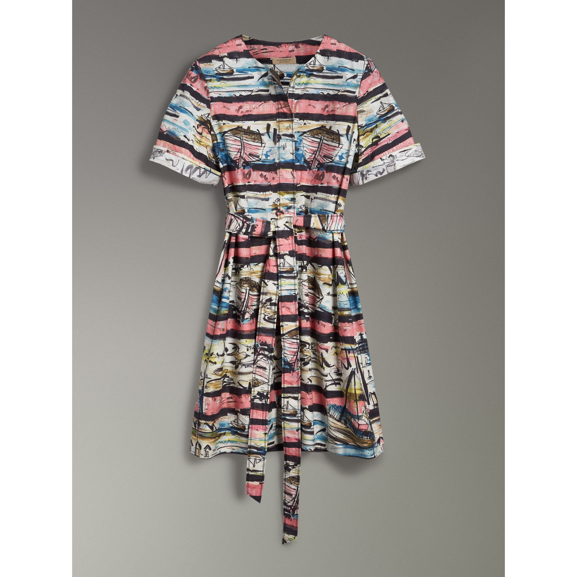 Short-sleeve Coastal Print Cotton Shirt Dress in Rose Pink - Women | Burberry Singapore - gallery image 3
