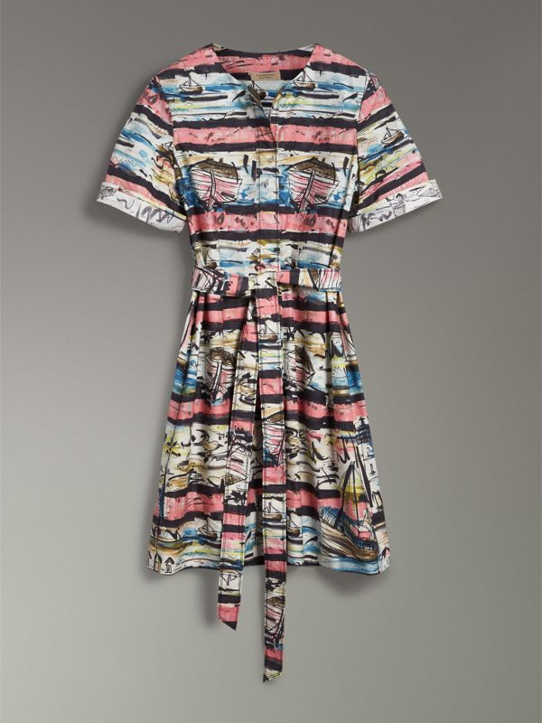 Short-sleeve Coastal Print Cotton Shirt Dress in Rose Pink - Women | Burberry - cell image 3
