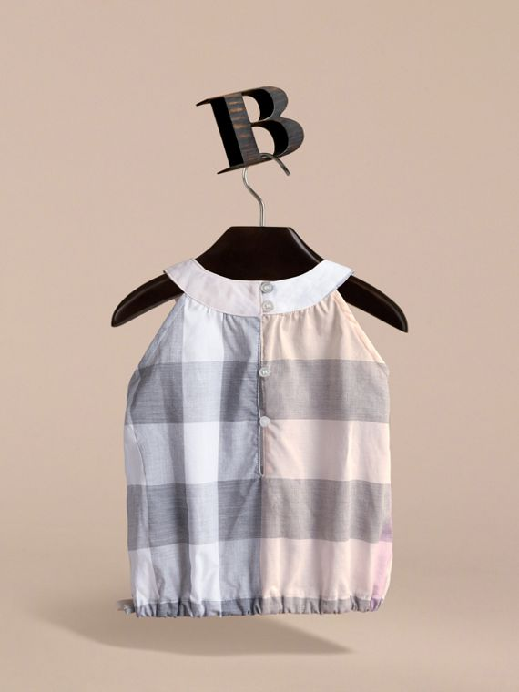 Gathered Check Cotton Top in Apricot | Burberry - cell image 3