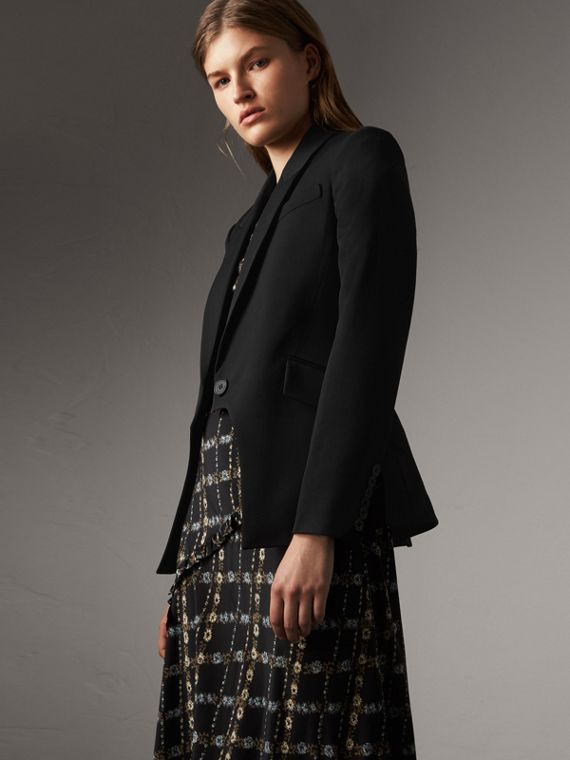 Cut-out Detail Tailored Wool Riding Jacket in Black