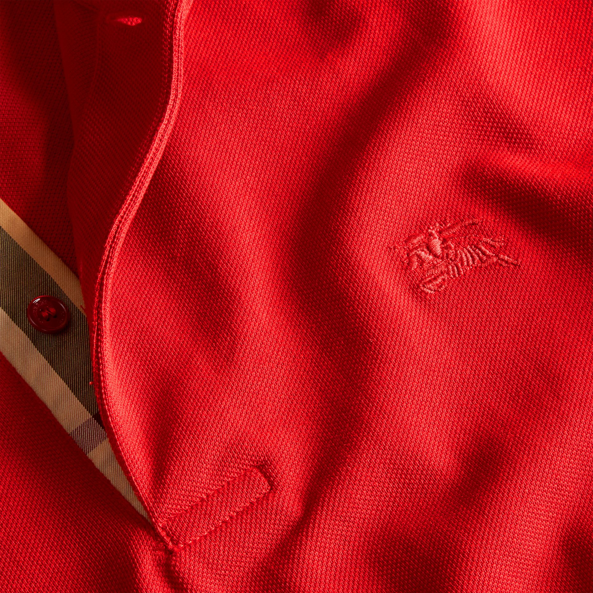 Check Placket Cotton Piqué Polo Shirt in Military Red - gallery image 2