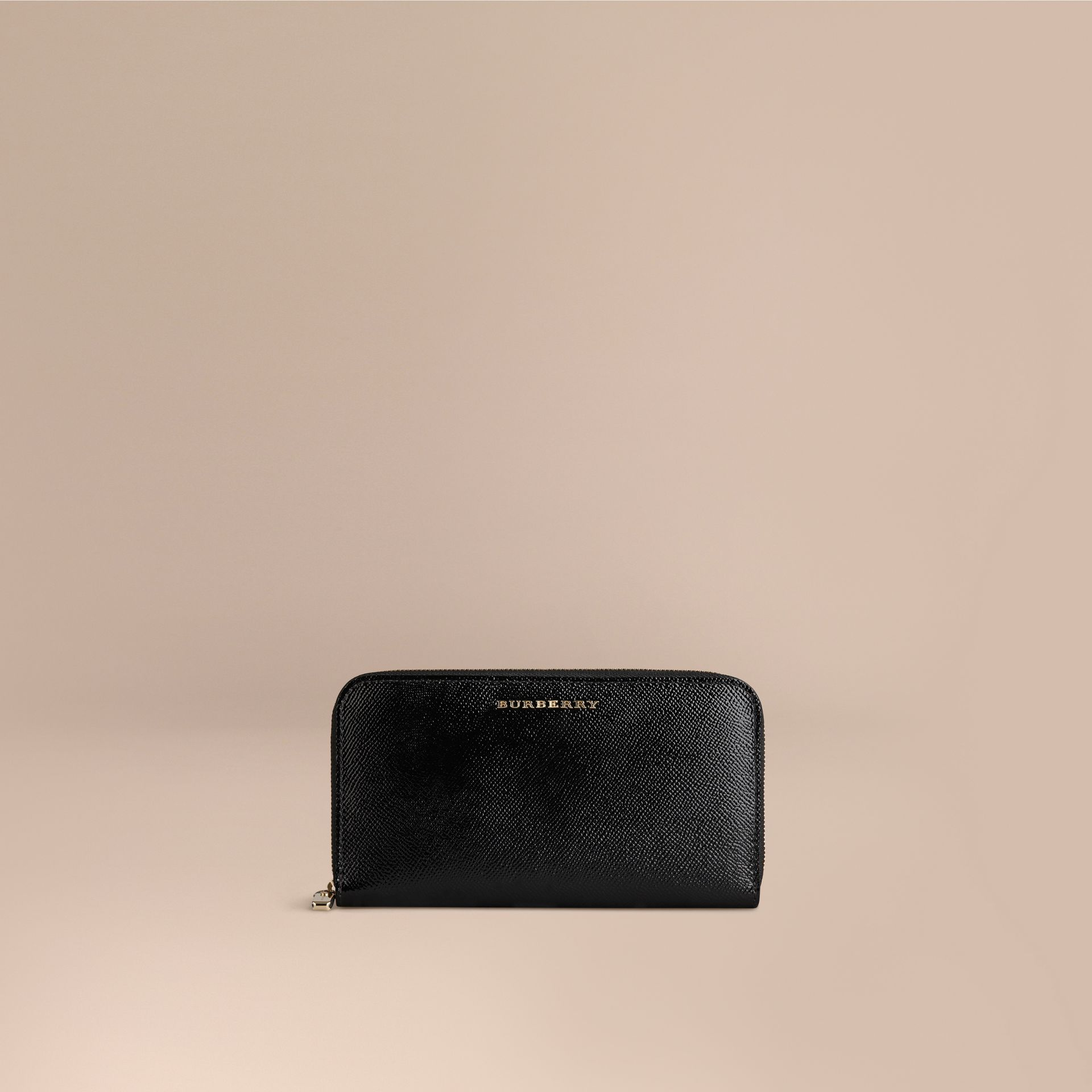 Patent London Leather Ziparound Wallet in Black - gallery image 1