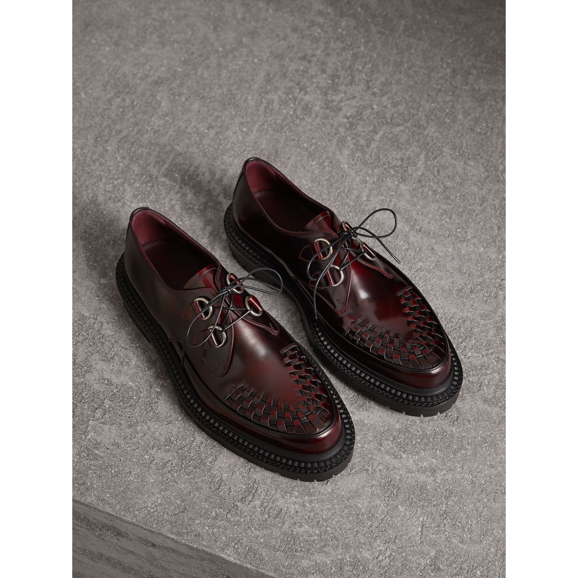 Woven-toe Leather Lace-up Shoes in Bordeaux - Men | Burberry - gallery image 0