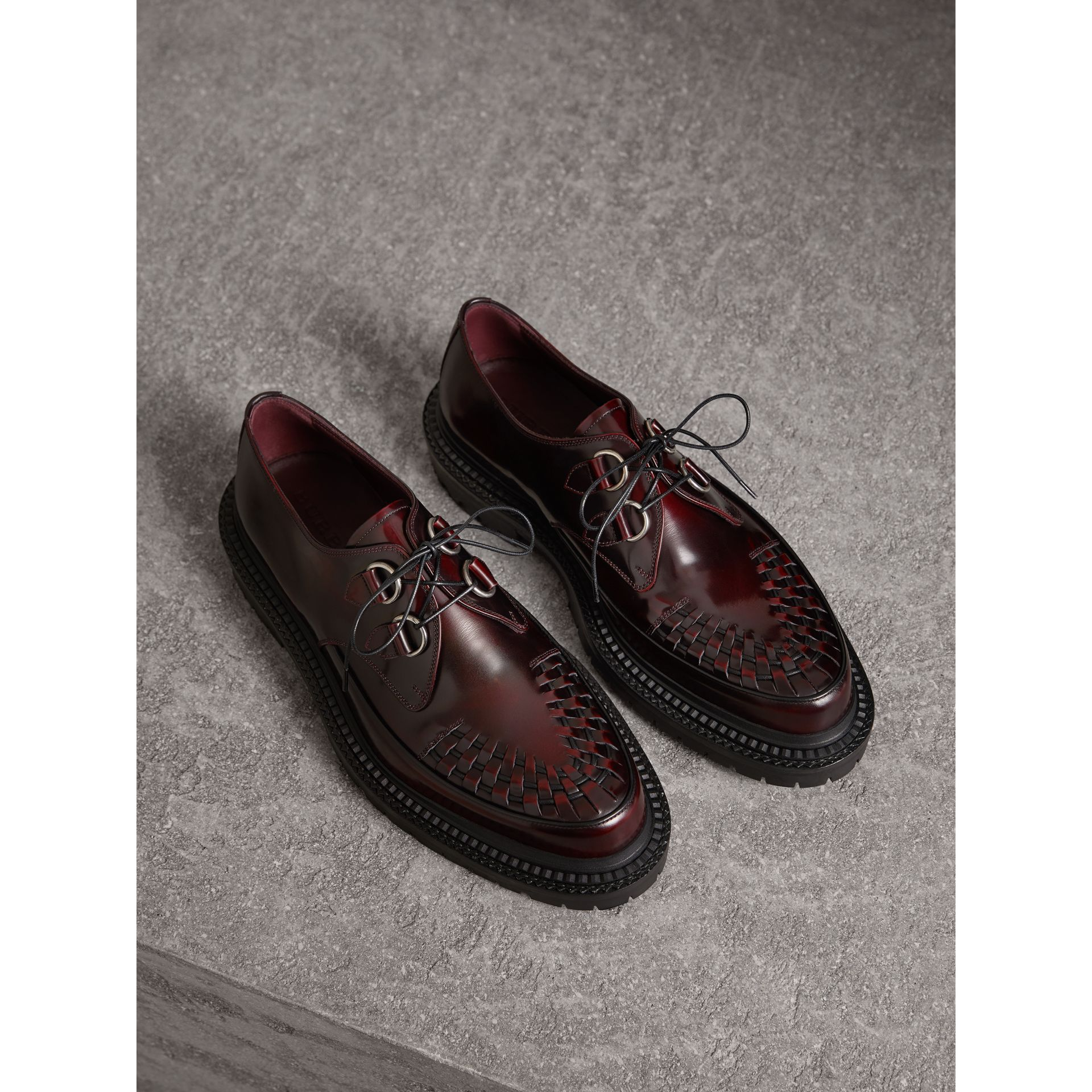 Burberry Woven-Toe Leather Lace-Up Shoes In Bordeaux   ModeSens 4b9c111c6a08