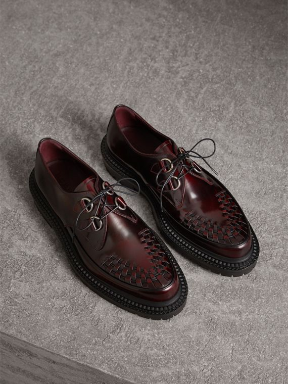 Woven-toe Leather Lace-up Shoes in Bordeaux