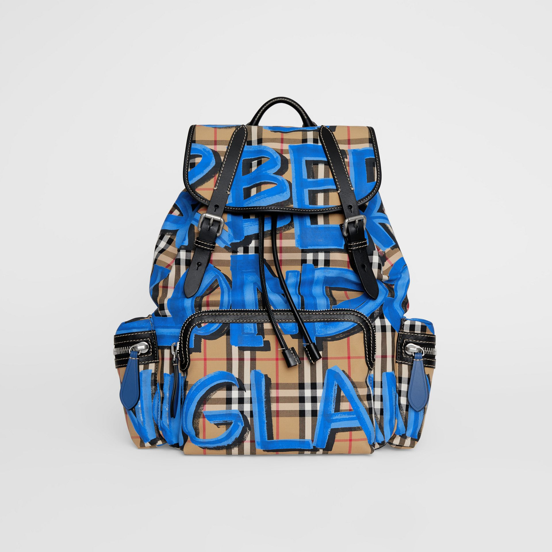 The Large Rucksack in Graffiti Print Vintage Check in Canvas Blue/antique Yellow | Burberry Hong Kong - gallery image 0