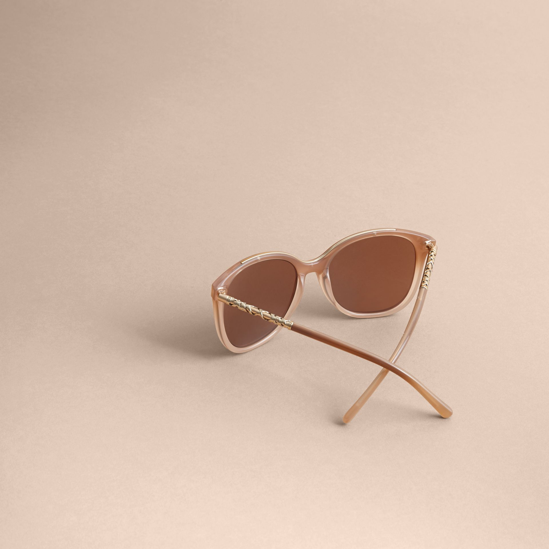 Check Detail Square Frame Sunglasses Trench - gallery image 4