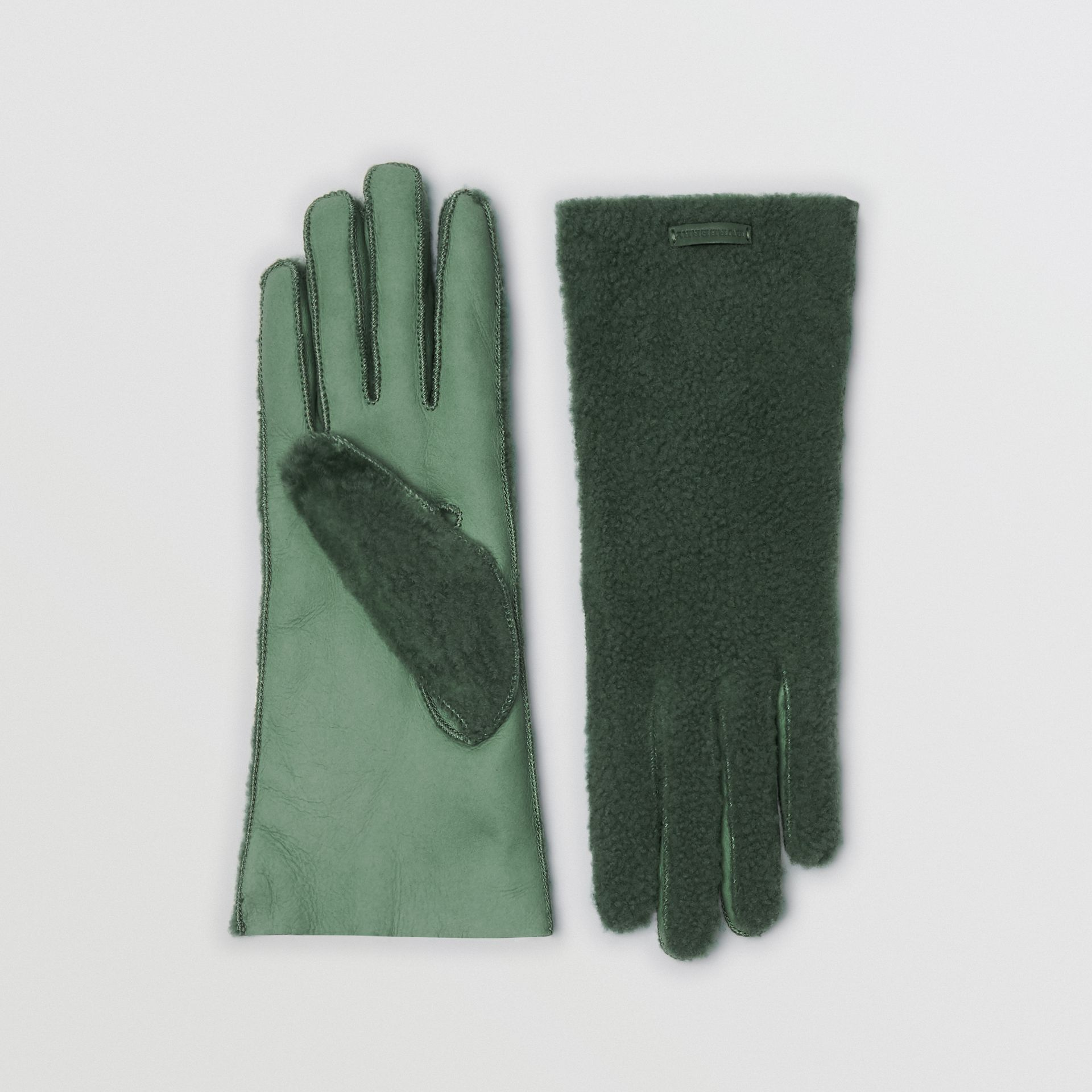 Shearling and Leather Gloves in Powder Green - Women | Burberry - gallery image 0