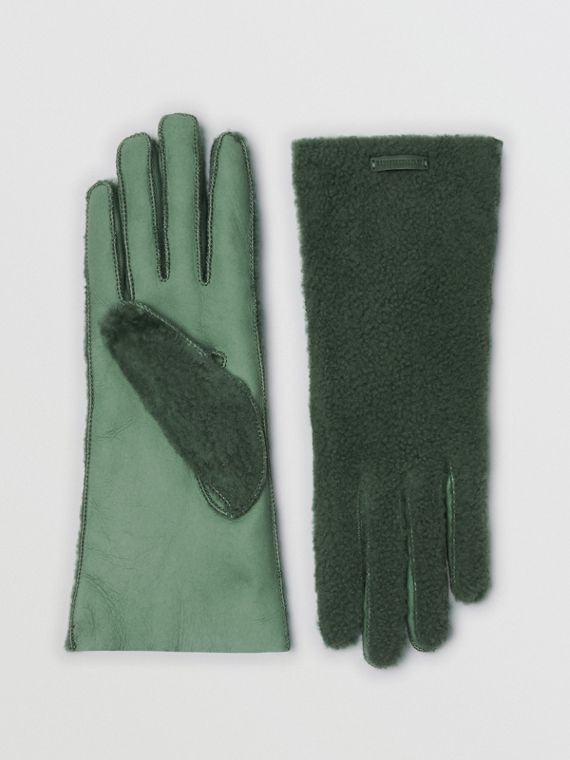 Shearling and Leather Gloves in Powder Green