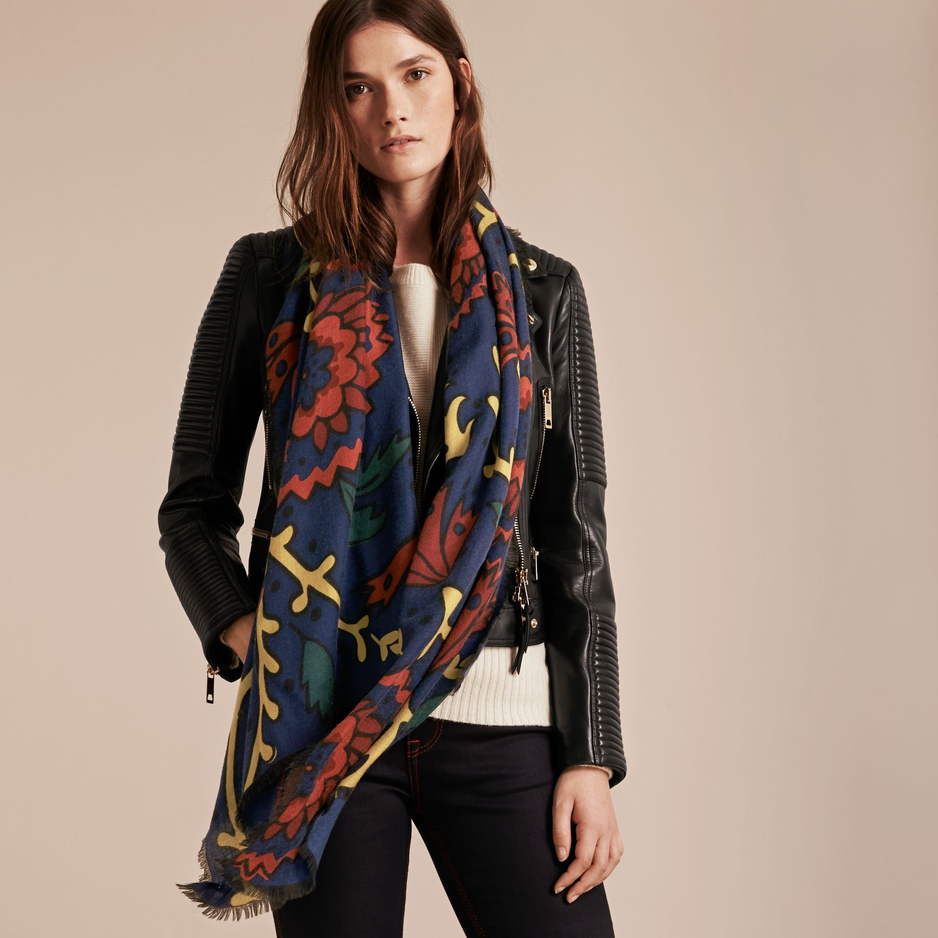 Navy Floral Print Cashmere Scarf - gallery image 3