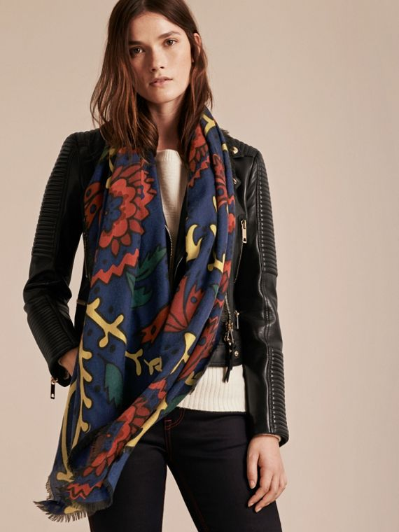 Navy Floral Print Cashmere Scarf - cell image 2