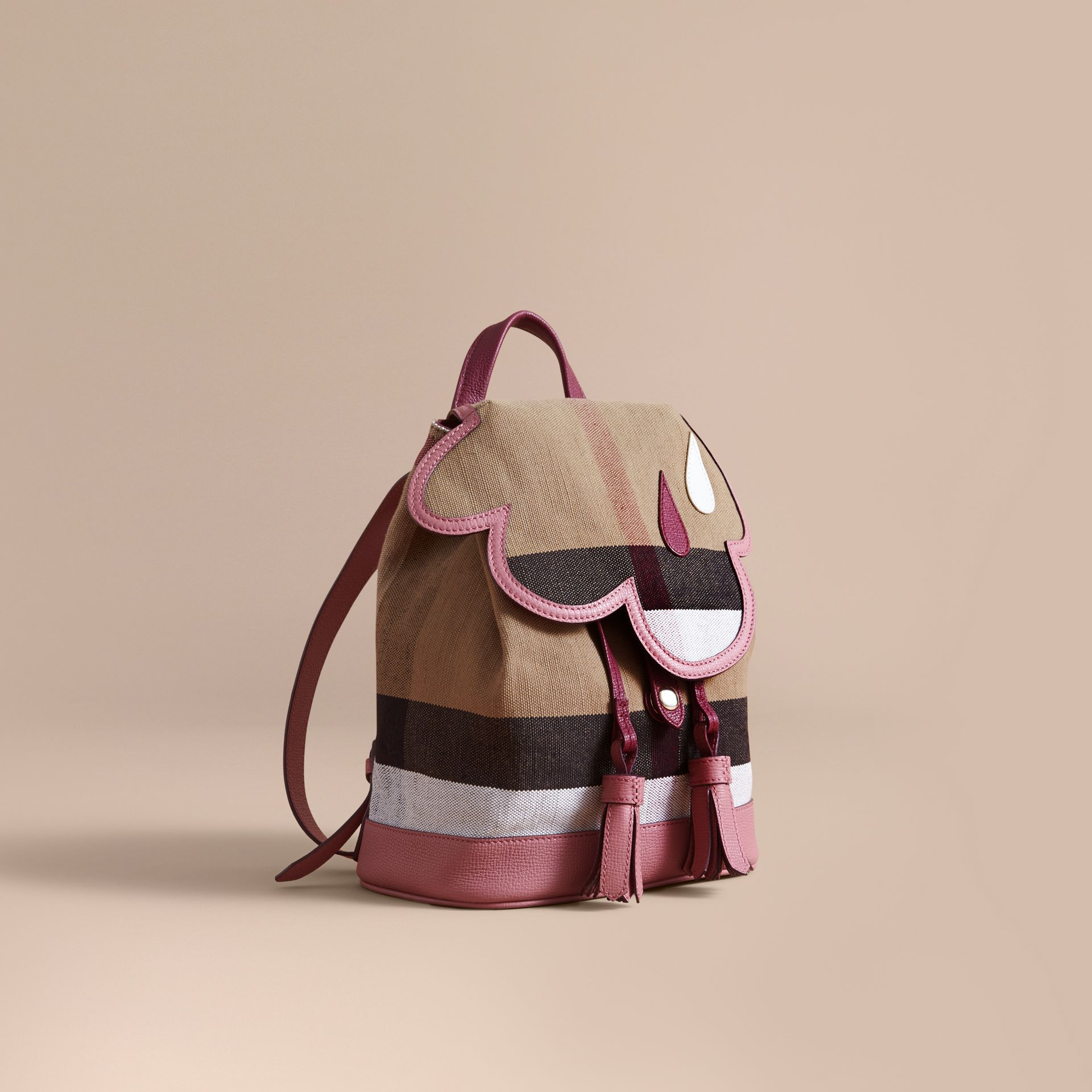 Weather Motif Canvas Check Mini Backpack in Mauve Pink | Burberry - gallery image 1