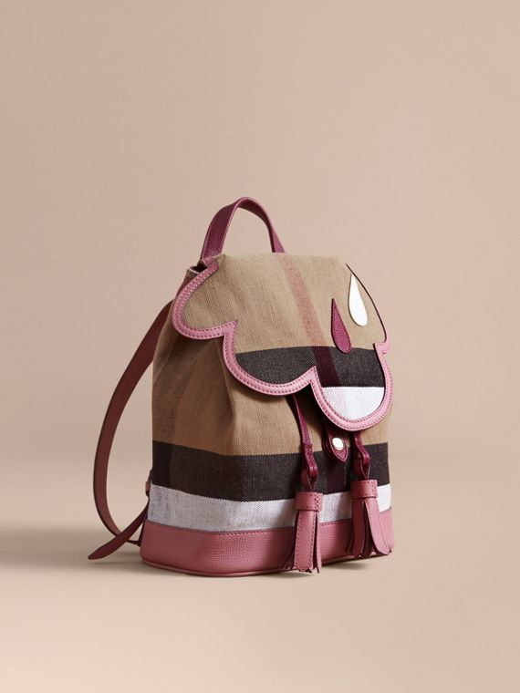 Weather Motif Canvas Check Mini Backpack in Mauve Pink