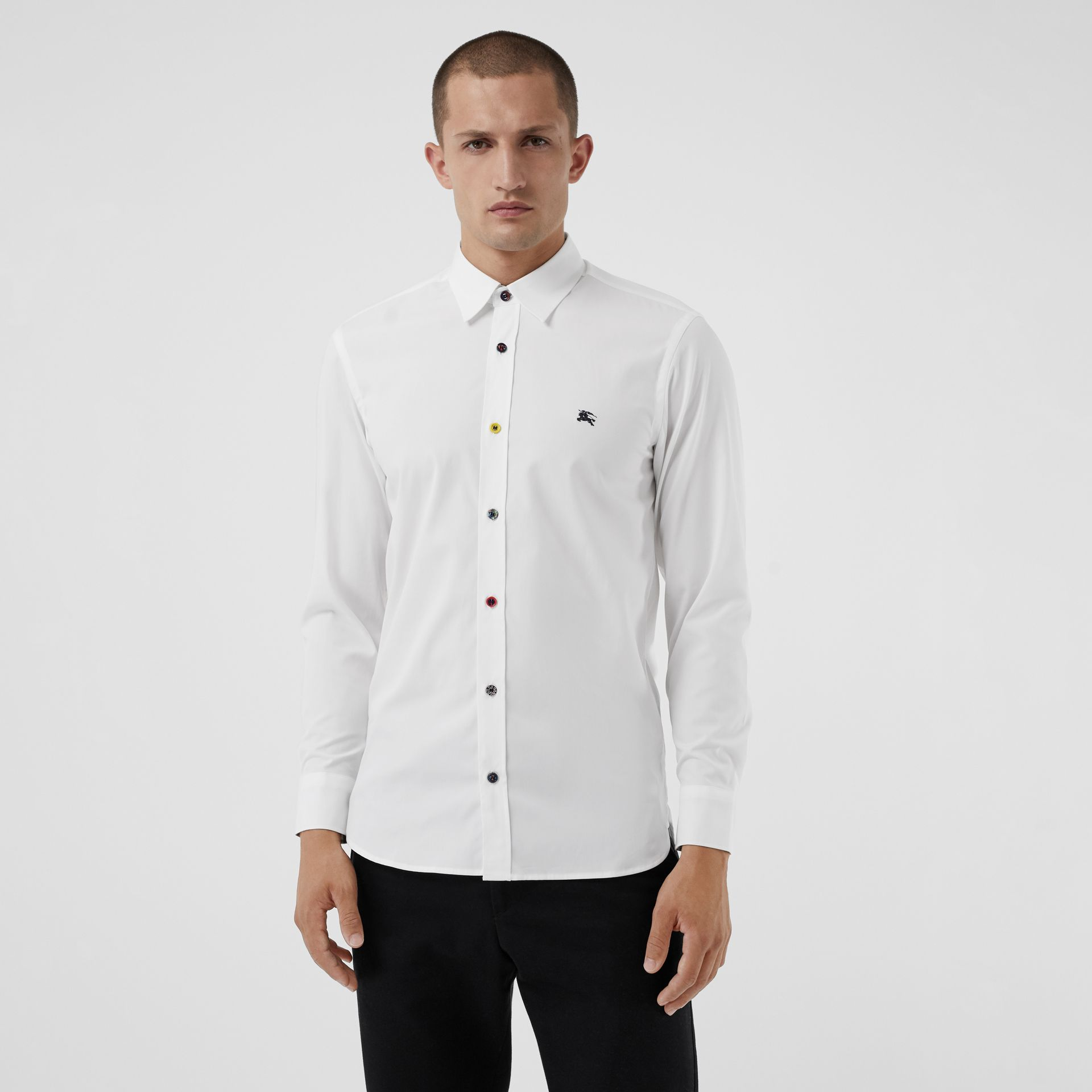 Contrast Button Stretch Cotton Shirt in White - Men | Burberry Australia - gallery image 0