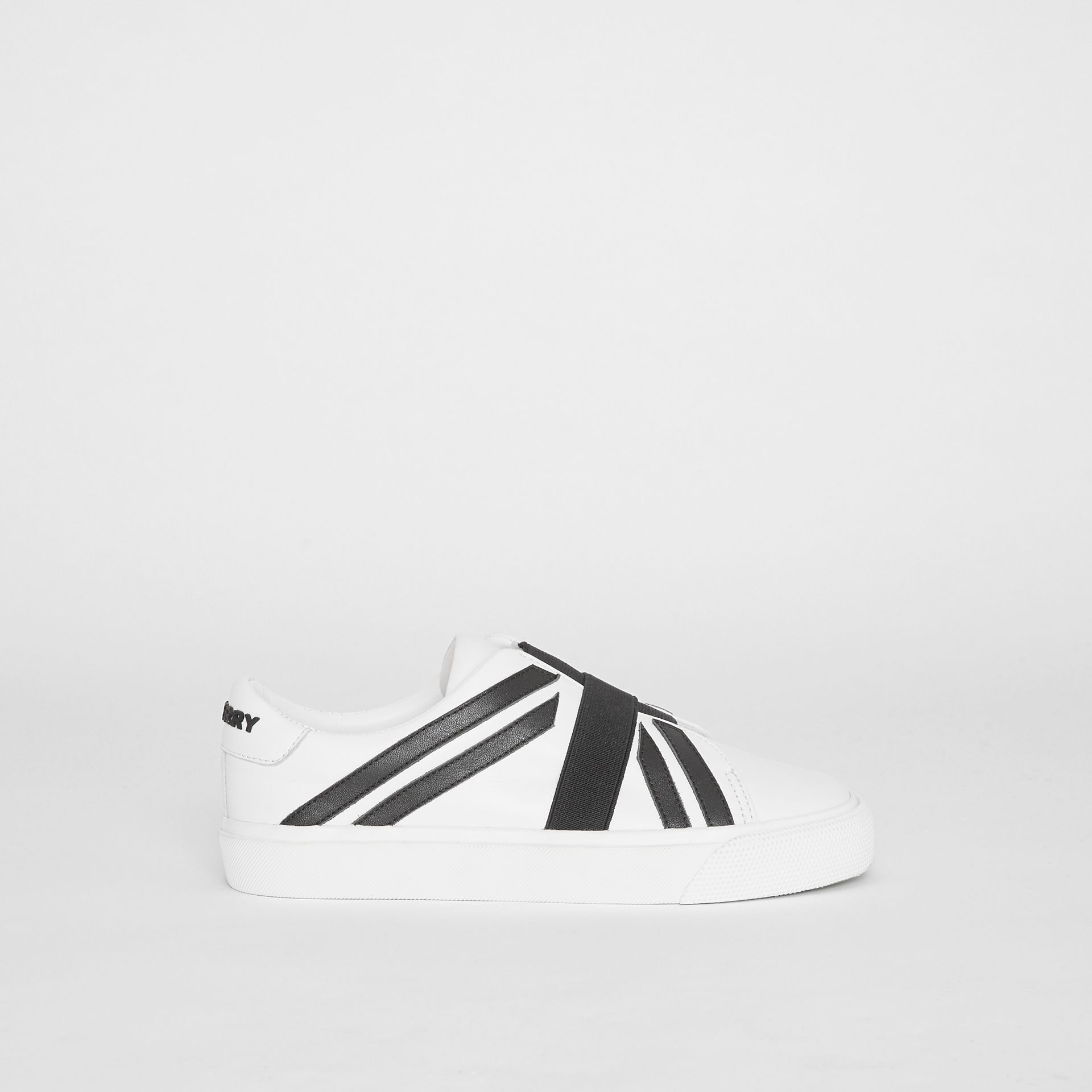Union Jack Motif Slip-on Sneakers in Optic White/black - Children | Burberry Australia - gallery image 3