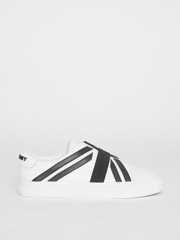 Union Jack Motif Slip-on Sneakers in Optic White/black - Children | Burberry Australia - cell image 3