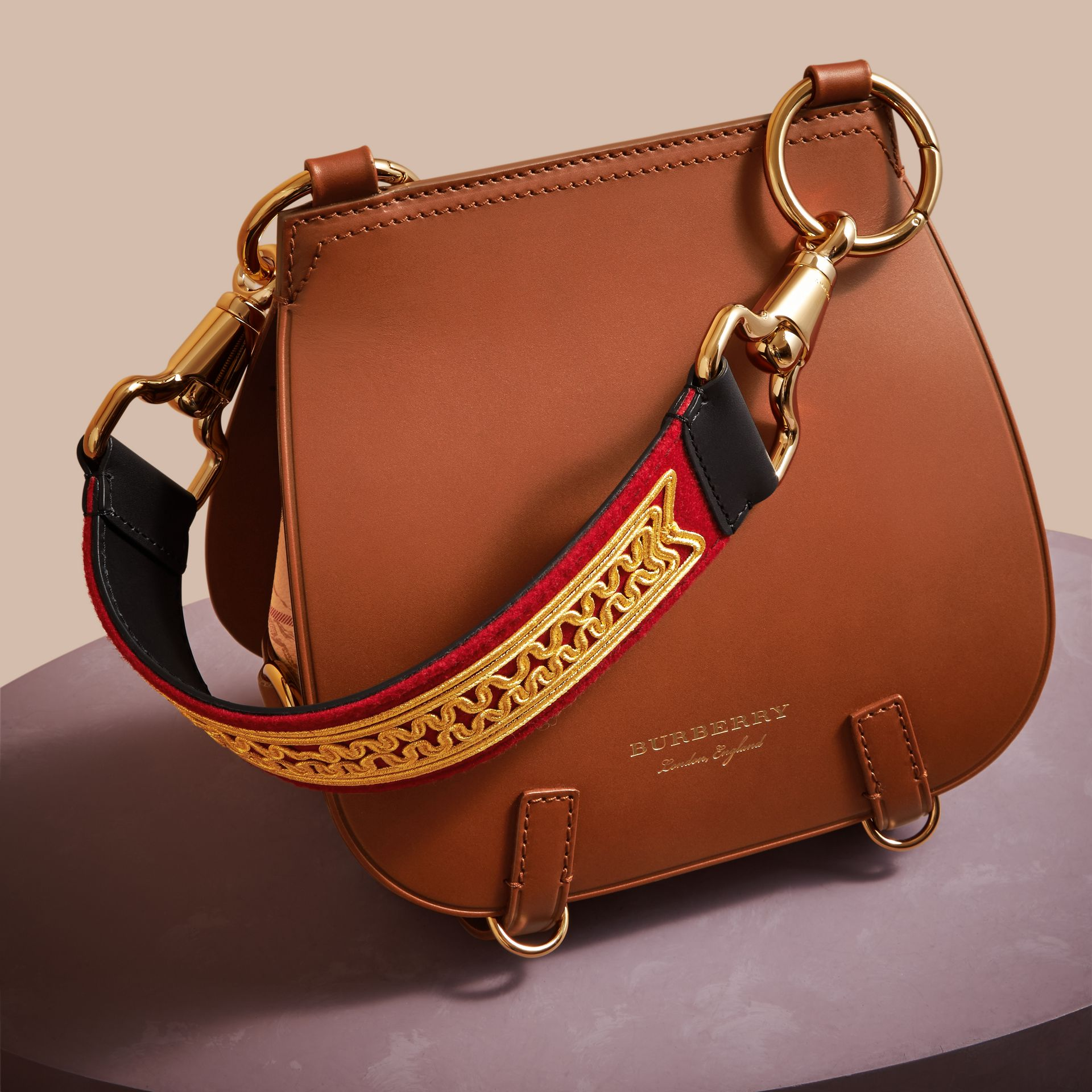 The Bridle Bag in Leather and Haymarket Check - Women | Burberry - gallery image 7